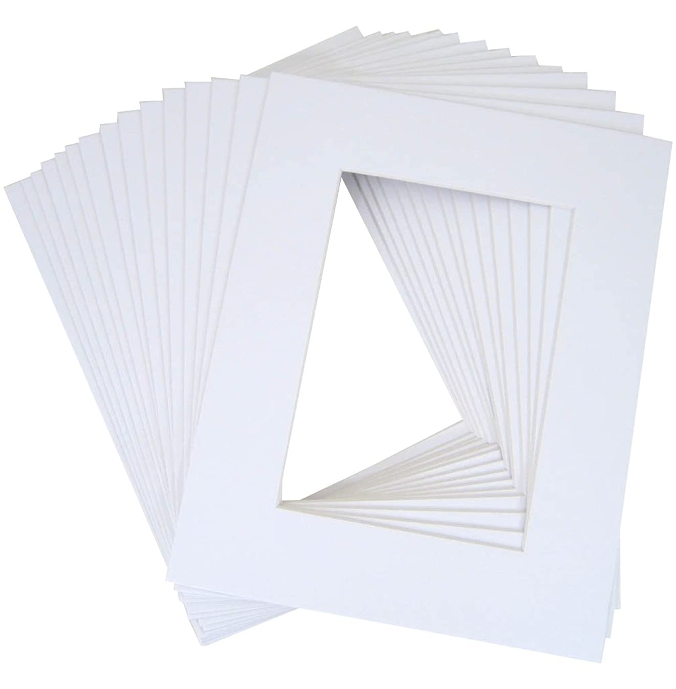 Golden State Art, Pack of 20 11x14 White Picture Mats with White Core Bevel Cut for 8x10 Pictures