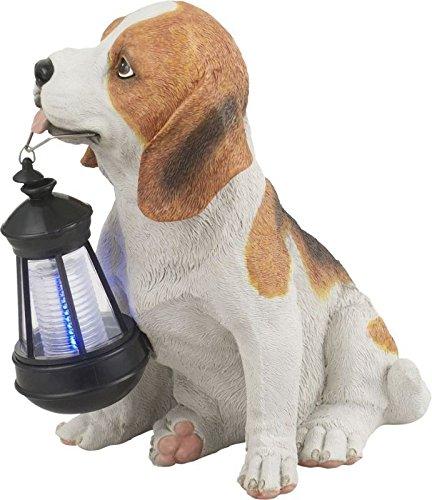 Solarleuchte Garten für Außen Hund mit Laterne Solarlampe Gartenlampen Solar (Dekoleuchte, LED, Höhe 26 cm, Braun Weiß)
