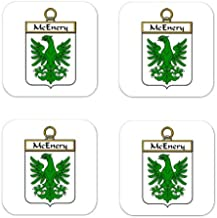 Mcenery Or Mchenry Family Crest Square Coasters Coat of Arms Coasters - Set of 4