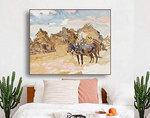 QianLei Ruinen en paarden beroemde olieverfschilderij muurkunst poster print canvas schilderij kalligrafie decor afbeelding voor woonkamer wooncultuur -70x56 cm geen vorm