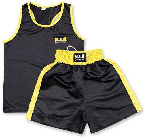 M.A.R International Ltd. - Pantalones Cortos de Boxeo y Chaleco para Entrenamiento (Talla pequeña), Color Negro y Amarillo