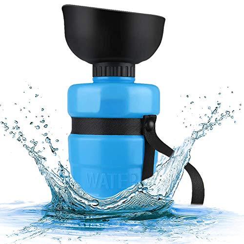 Wuudi Hunde Trinkflasche für Unterwegs, 520ml Tragbare Haustier Travel Wasserflasche mit Trinkschüssel BPA-Frei für Camping, Outdoor, Wandern, Spaziergang