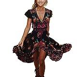 Inlefen Imprimir Vestido Vestidos Vestidos Bohemia Vintage de Verano de Las Mujeres Vestidos Profundos de la Playa con Cuello en V L
