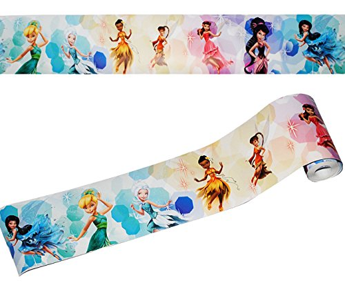 alles-meine.de GmbH Wandbordüre - selbstklebend -  Disney Fairies / Fairy - Tinkerbell  - 5 m - Wandsticker / Wandtattoo - Bordüre Aufkleber Kinderzimmer - für Kinder Mädchen -..