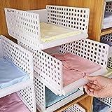 Yoillione Regal Kleiderschrank Organizer Schublade Weiß für Schlafzimmer Badezimmer Küchen,Stapelbar Schrank Organizer Kleiderschrank Aufbewahrung Garderobe Organizer für Kleidung -