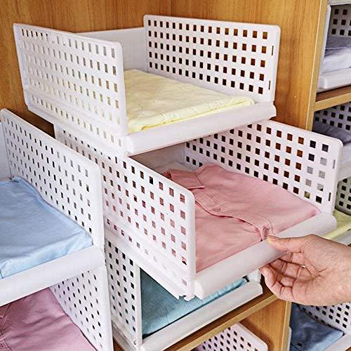 Yoillione Regal Kleiderschrank Organizer Schublade Weiß für Schlafzimmer Badezimmer Küchen,Stapelbar Schrank Organizer Kleiderschrank Aufbewahrung Garderobe Organizer für Kleidung