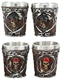 Ebros Myths Legends And Fantasy Spirit Themed 2-Ounce Shot Glasses Set Of 4 Resin Housing With Stainless Steel Liners Great Souvenir And Party Hosting Idea (Pirate Captain And Buccaneer Skeletons)