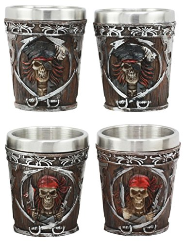 Ebros Myths Legends And Fantasy Spirit Themed 2-Ounce Shot Glasses Set Of 4 Resin Housing With Stainless Steel Liners Great Souvenir And Party Hosting Idea Pirate Captain And Buccaneer Skeletons