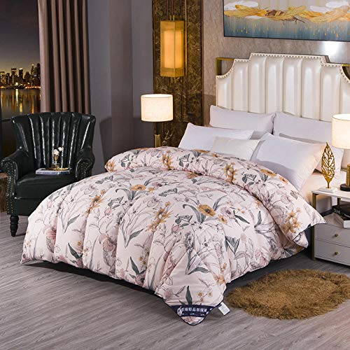 Hahaemall All Seasons Goose Duvet All Seasons Duvet Double Bed, Cotton duvet - Anti allergen - Washable at Home - Winter Quilt-B_180x200cm-3kg