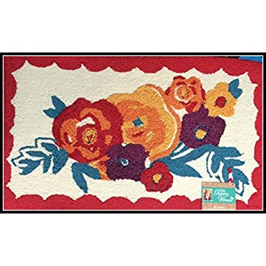 Pioneer Woman Kitchen Rug Mat Bright Floral Hand Hooked 18  by 30
