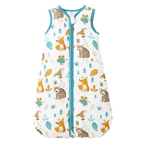 Mosebears Sacco nanna invernale per bambini, 2,5 Tog, sacco a pelo per neonati, 100% cotone, per diverse misure, dalla nascita fino ai 18 mesi (verde zoo, 6-12 mesi)