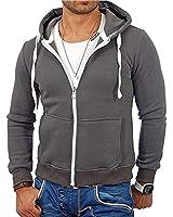 Mens Fashion Full-Zip Fleece Hoodies- Solid Color Zip up Hoodie Sweatshirts Sports Jackets Dark Grey