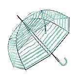 Paraguas transparente Cacharel con estampado original. Paraguas largo de mujer con forma de cúpula y apertura manual (verde).
