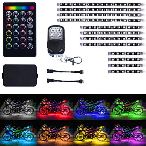 LivTee 12Pcs Motorcycle LED Light Kit Strips Multi-Color Accent Glow Neon Ground Effect Atmosphere Lights Lamp with Wireless Remote Controller for Harley Davidson Honda Kawasaki Suzuki