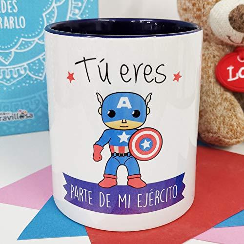 La Mente es Maravillosa - Taza con Frase y dibujo. Regalo original y gracioso (Tú eres parte de mi ejército) Taza Capitán América