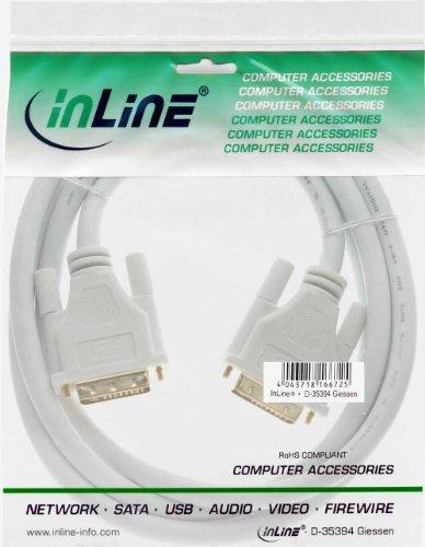 InLine 17772W DVI-D Kabel, digital 24+1 Stecker / Stecker, Dual Link, weiß / gold, 2m