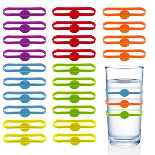 Chingde Glas Markierungen, 24 Stück Wein Marker Silikon Glasmarker Wiederverwendbare Cup Marker Trinken Marker für Home Bar Party Zubehör