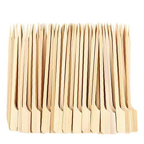 TOPofly Pinchos de Madera Barbacoa Sticks Palos de bambú Pinchos Desechables Paddle Largo palillo de Dientes sWooden Pinchos extralarga Fuerte para Barbacoa Fruit Snacks 15cm 100PCS