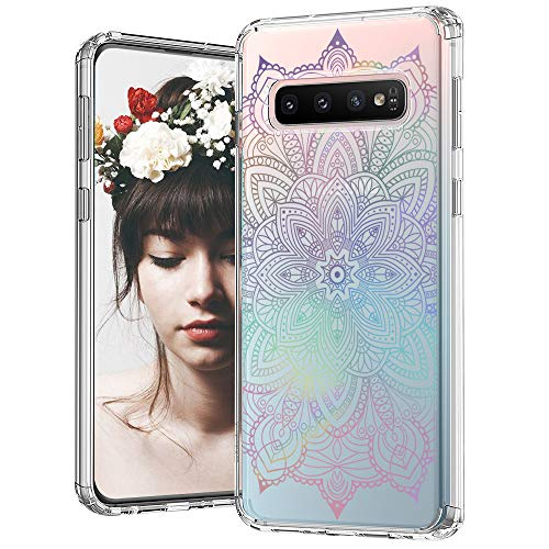 MOSNOVO Galaxy S10 Case, Gradient Rainbow Henna Mandala Pattern Clear Design Printed Transparent Plastic Back Case with TPU Bumper Protective Case Cover for Samsung Galaxy S10