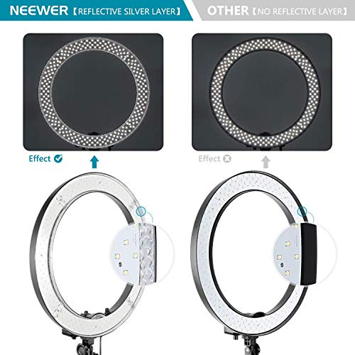 Neewer Ring Light with Stand Kit: 18-inch Outer 55W Dimmable LED Ring Light with Soft Diffuser, Filter, Stand, Soft Tube, Phone Holder and Carrying Bag for YouTube Video, Selfie Light, Makeup, etc