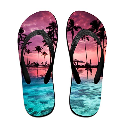Hawaii Pattern Unisex Adults Casual Flip-Flops Sandal Pool Party Slippers Bathroom Flats Open Toed Slide Shoes Small