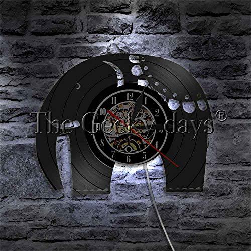 LTOOD 1 stuk Olifant Vinyl Record Wandklok Broers Dieren LED Wandlampen Slaapkamer Huisdecoratie Voor Dieren Liefhebbers Gift Idee