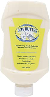 Boy Butter XL Personal Lubricant | Natural Coconut Oil & Organic Silicone | Non Staining, Washable & Slick Lube for Adult Men, Women & Couples | Original Formula Oil Based Cream Made in the USA | 25oz