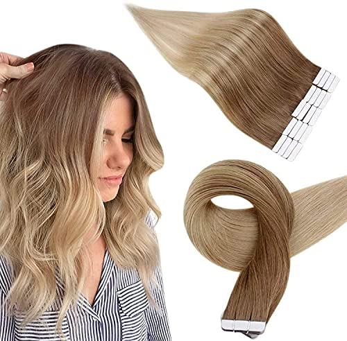 Easyouth Extensions Adhesive Cheveux Naturel Couleur Brun Doré Passant au Blond Doré Extensions de Cheveux Humains 16 Pouce 40g 20Pcs