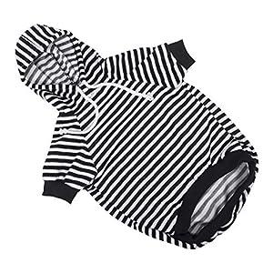 Hozz Dog Hoodie Pet Sweatshirt Clothes Doggie Sweater Pajamas with Hat Striped Black L