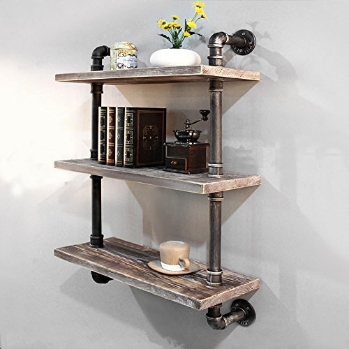 Industrial Pipe Bookcase Wall ShelfRustic Floating Wood Shelves Shelving 24#039#039
