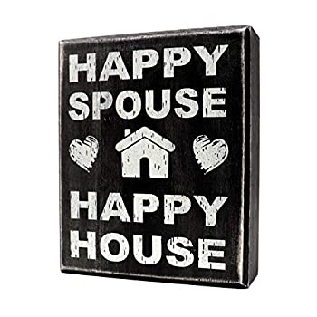 JennyGems Happy Spouse Happy House Wood Sign | Gift for Husband | Gift for Wife | Wedding Gift | Love Decor | Home Accent Plaque | Wall Hanging | Marriage Sign | Just Married