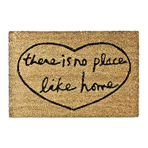 Relaxdays There is no Place Like Home – Felpudo para la Entrada de su hogar Hecho de Fibras de Coco y PVC con Medidas 40 x 60 cm Antideslizante Elemento Decorativo, Color Natural