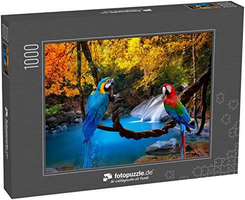 Puzzle 1000 Teile Papageien mit Wasserfall-Hintergrund - Klassische Puzzle, 1000/200/2000 Teile, in edler Motiv-Schachtel, Fotopuzzle-Kollektion \'Tiere\'