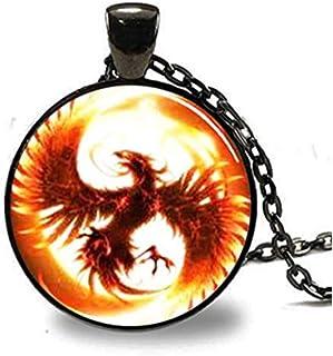 Phoenix Pendant, Phoenix Necklace, Pheonix Jewelry, Phoenix Charm Black