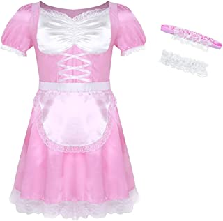 Men's Frilly Satin Flutter Sissy French Maid Dress Costume Crossdress Nightwear Pajamas
