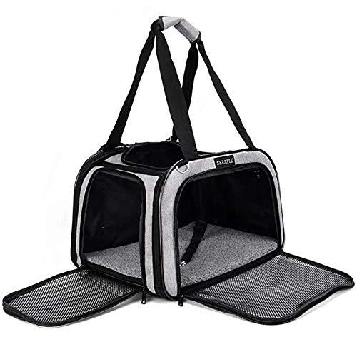 GBY Huisdiertas, eenvoudige draagbare comforthuistdiertas met meerdere ramen, ademende schuurdoekenhuisdiertas, grijs, 44 x 28 x 28 cm