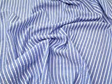 Minerva Crafts Seersucker-Stoff, gestreift, Blau, Meterware