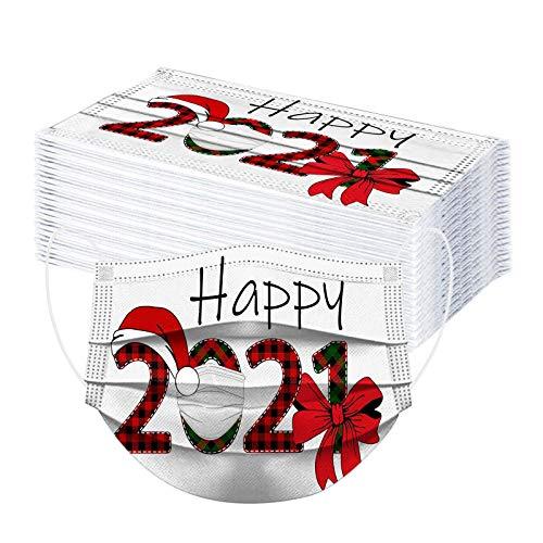SicongHT 10/50 Stück Mundschutz Neu Erwachsene Einweg Mund Nasenschutz Happy 2021 Druck Atmungsaktiv Gesichts Staubschutz Multifunktionstuch Weihnachts Bandana Halstuch Schals(50 Stück,B)
