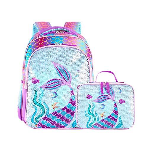Reversible Sequin School Backpack Lightweight Little Kid Book Bag for Preschool Kindergarten Elementary (15', Mermaid with Lunch Bag)