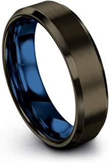 Chroma Color Collection Tungsten Carbide Wedding Band Ring 6mm for Men Women Green Red Blue Purple Black Gunmetal Copper F...