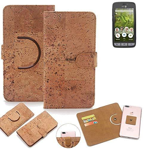 K-S-Trade Schutz Hülle Für Doro 8031 Handyhülle Kork Handy Tasche Korkhülle Schutzhülle Handytasche Wallet Hülle Walletcase Flip Cover Smartphone Handyhülle