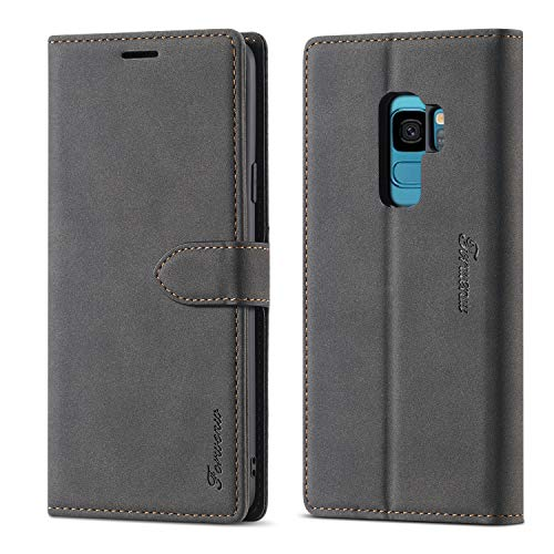 EYZUTAK Leather Case for Samsung Galaxy S9 Plus, Magnetic Closure, Premium PU Leather Flip Case with Card Slots, Wallet Stand Function, Shockproof Silicone Case, Vintage Leather Case, Black