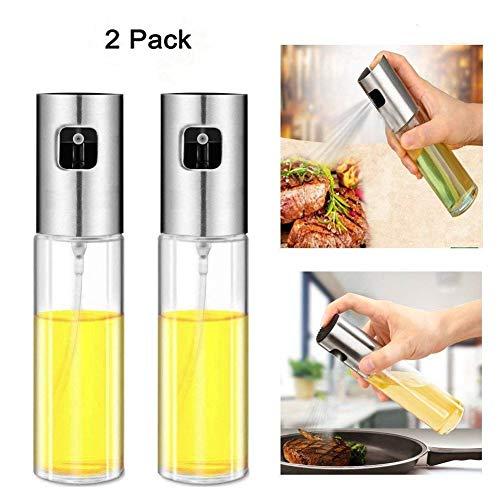 Ölsprüher Glas Für Speiseöl Öl Sprüher Ölspray Küche Grill 100ml Zum Kochen Olivenöl Spray,Essig Öl Set Spender,Salat, Bbq, Pasta (2 PC)