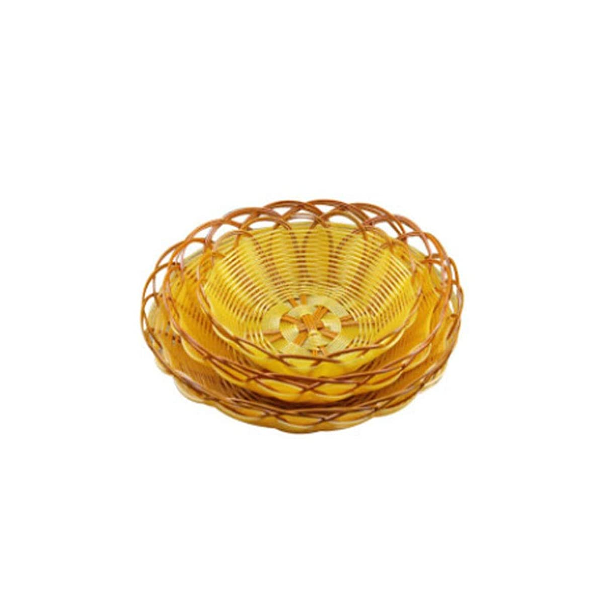 Qiyuezhuangshi Bread Basket, Yellow Imitation Vine Fruit Bowl, Small and Exquisite Snack/Rice Basket (Yellow, 153cm) (Color : Yellow, Size : 153cm)