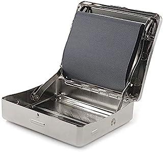 Caja de liar automática, máquina de liar cigarrillos de 78 mm, máquina manual de liar tabaco, caja de metal portátil para liar tabaco, rodillo de fumar y caja de almacenamiento (plateado): Amazon.es: