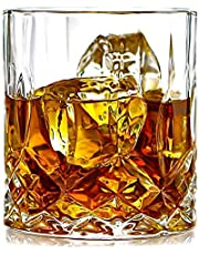 PrimeWorld Glass Crystal Whiskey Glass - 6 Pieces, Clear, 300 ml