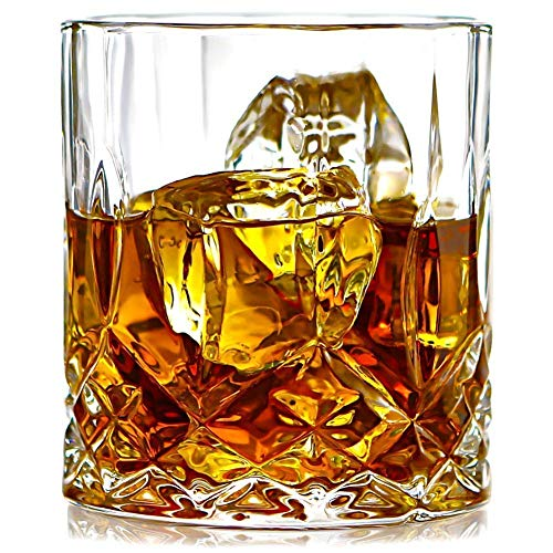 PrimeWorld Opera Crystal Whiskey Glasses Set of 6 pcs- 300 ml Bar Glass for Drinking Bourbon, Whisky, Scotch, Cocktails, Cognac- Old Fashioned Cocktail Tumblers