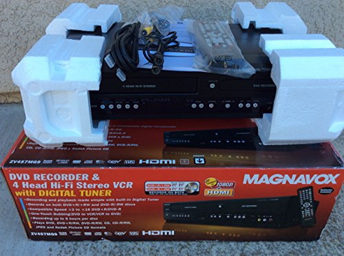 New Magnavox ZV457MG9 DVD Recorder and 4-Head Hi-Fi Stereo VCR
