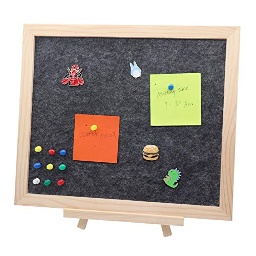 Omitfu Desk Pin Board 13 x 11 inch Framed Felt Bulletin Board with Tabletop Stand Memo Message Notice Pin Board for Home Office, A Box of Push Pins Included (Black)