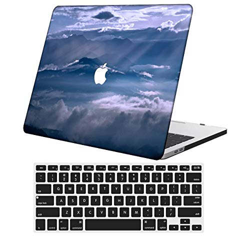 NKDCase Case for Newest MacBook Pro 15 inch Model A1707/A1990 Cut Out Design,Plastic Ultra Slim Light Hard Case Keyboard Cover Compatible MacBook Pro 15 inch with Touch Bar,Sky Series 0006